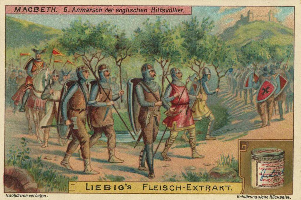 Men with trees walking in Macbeth